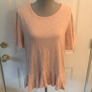 Doe & Rae Womens Pink Lace Up Back Top